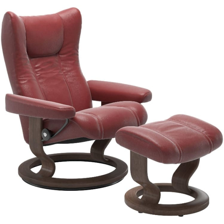 (product) Stressless Wing Classic Recliner & Ottoman